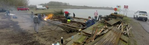 Raft being dismantled